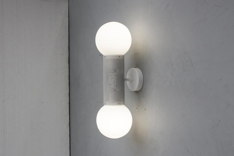 Australian Perf Double Wall Sconce, Matte Black Perforated Tube, Glass Round Orb Shades For Sale