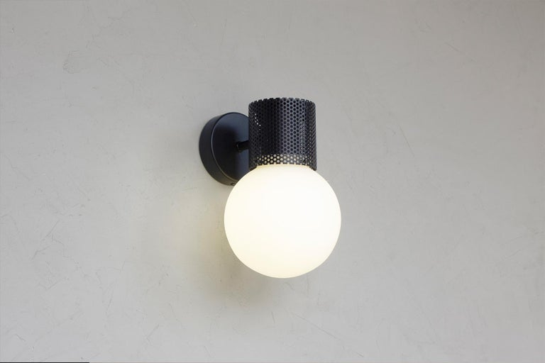 Powder-Coated Perf Wall Sconce, Off-White Perforated Tube, Glass Round Orb Shade For Sale
