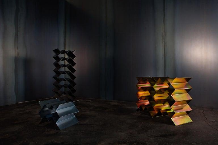 Pressed Fold Wine Rack, Iridescent Yellow Zinc, Geometric, Brutalist Stacking Storage For Sale