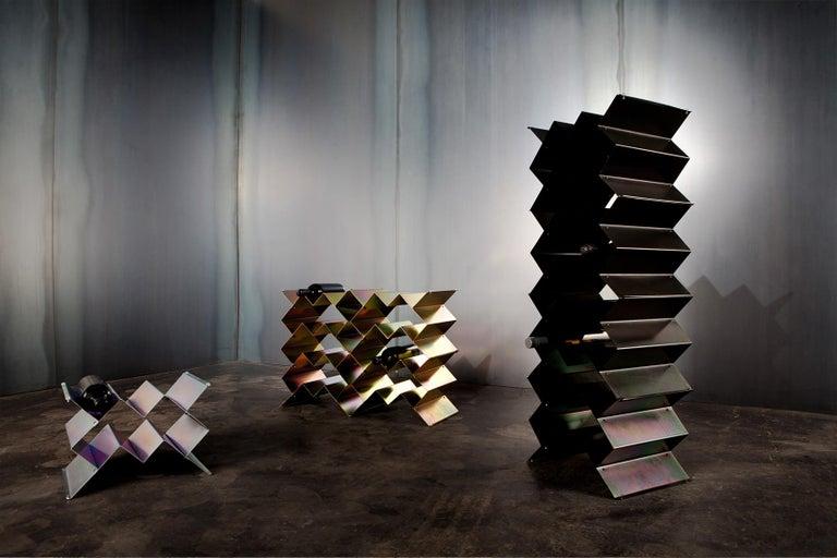 Australian Fold Wine Rack, Iridescent Black Zinc, Geometric, Brutalist Stacking Storage For Sale