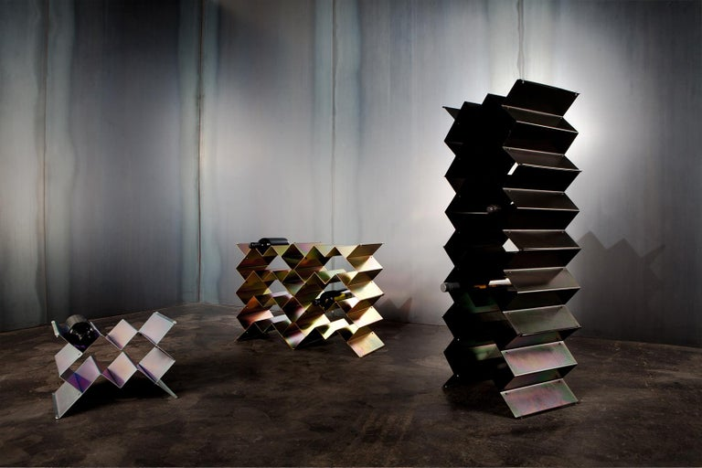 Fold Wine Rack, Iridescent Silver Zinc, Geometric, Brutalist Stacking Storage In New Condition For Sale In Fawkner, Victoria