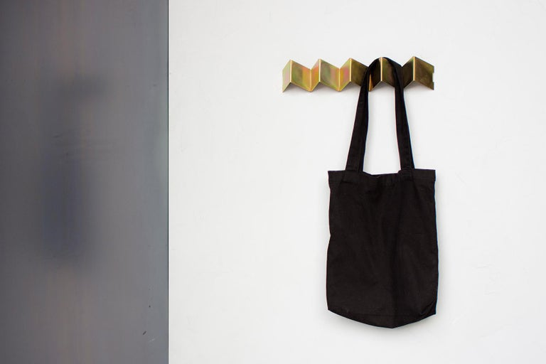 Contemporary Fold Coat Rack, Iridescent Black Zinc, Geometric Metal Wall Hook For Sale