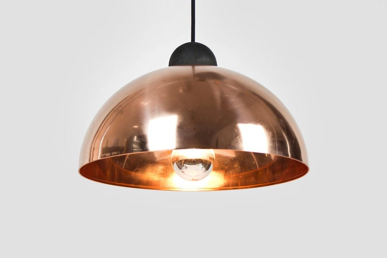 Modern Up-Down Pendant, Height Adjustable Light, Copper Shade, Obsidian Glass For Sale