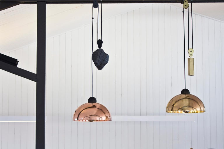 Up-Down Pendant, Height Adjustable Light, Copper Shade, Obsidian Glass In New Condition For Sale In Fawkner, Victoria
