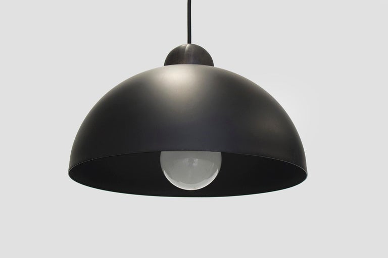 Modern Up-Down Pendant, Height Adjustable Light, Matte Black Shade, Black River Stone For Sale