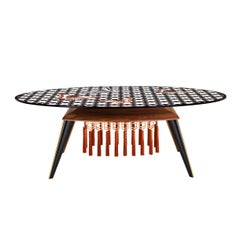 Contemporary White and Black Wood Veneer Oval Table with Copper Decorations
