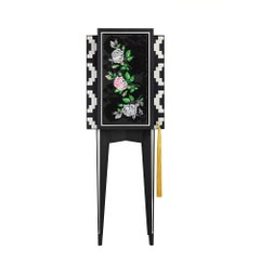 LH Black and White Rose Embroidered Mono Secretaire