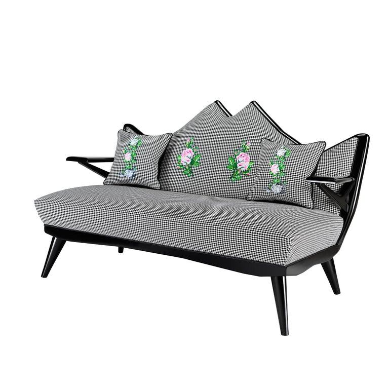 Contemporary Overstuffed Sofa In Dedar Fabric With Rose Embroidery For