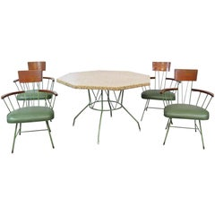 Vintage Green Wrought Iron and Ash Wood Richard McCarthy Pebble-Top Dining Set
