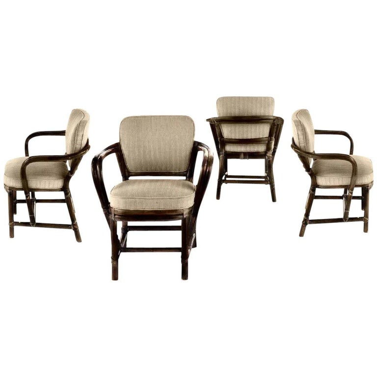 Vintage McGuire San Francisco Rattan Bamboo Regency Dining Armchair Set of Four