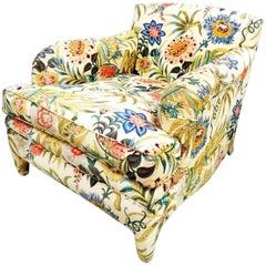Jacobean Rainbow Cream Cotton Chintz with Post-Modern Armchair, Organic Modern
