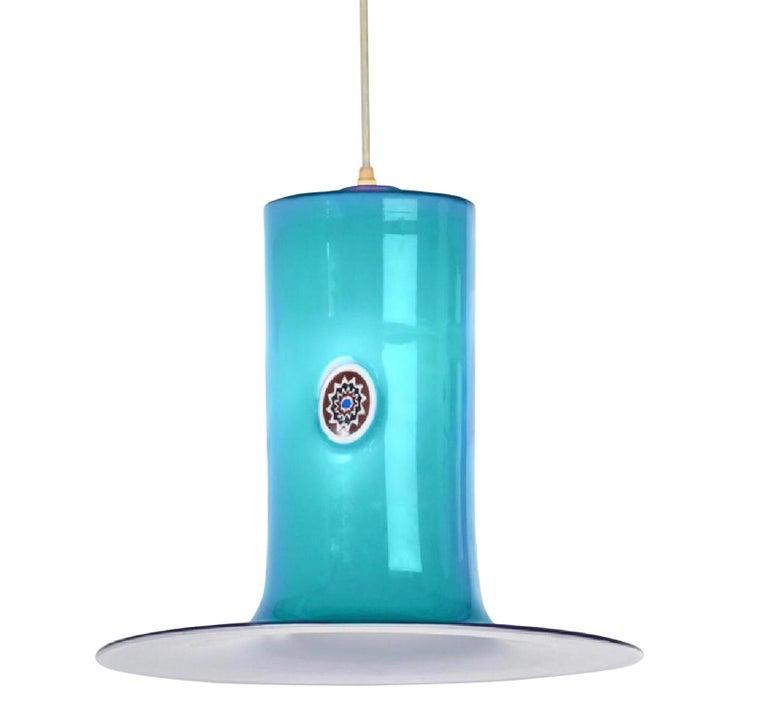 Murano Art Glass Aqua Blue Pendant by Alessandro Pianon for Vistosi, 1960s Italy