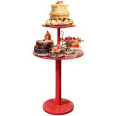 British Pop Art Candy & Cake Realist Mixed Media Sculpture, Red wood pedestal