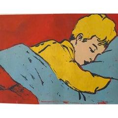 "Postmodern Pop Art ""Boy Sleeping"" Screen Painting by David Bromley, 1990s Aussie"
