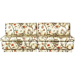 Brunschwig and Fils Custom Chinoiserie Polished Cotton Banquette