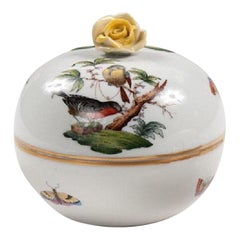 Herend Porcelain Hand Painted Sugar Bowl with Lid, Birds and Bees, Midcentury