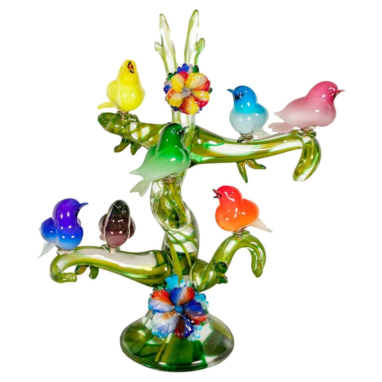 Colorful Murano Glass Birds in a Tree Sculpture, Enrico Cammozzo, Italy, 1970s For Sale