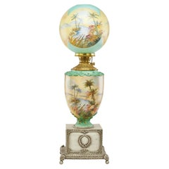 Pairpoint Monumental Hand-Painted Orientalist Oil Lamp, Pyramids, Palms c 1905