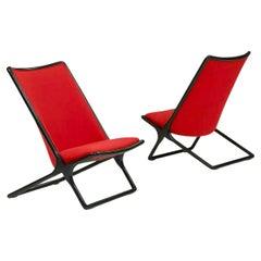 Ward Bennett for Brickel Black Ash Scissor Lounge Chair, Red Wool Bouclé, 1984