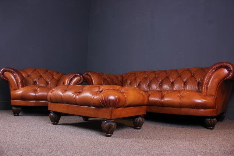 Contemporary Tetrad Oskar Buffalo Leather Chesterfield Sofa Chair And Footstool For