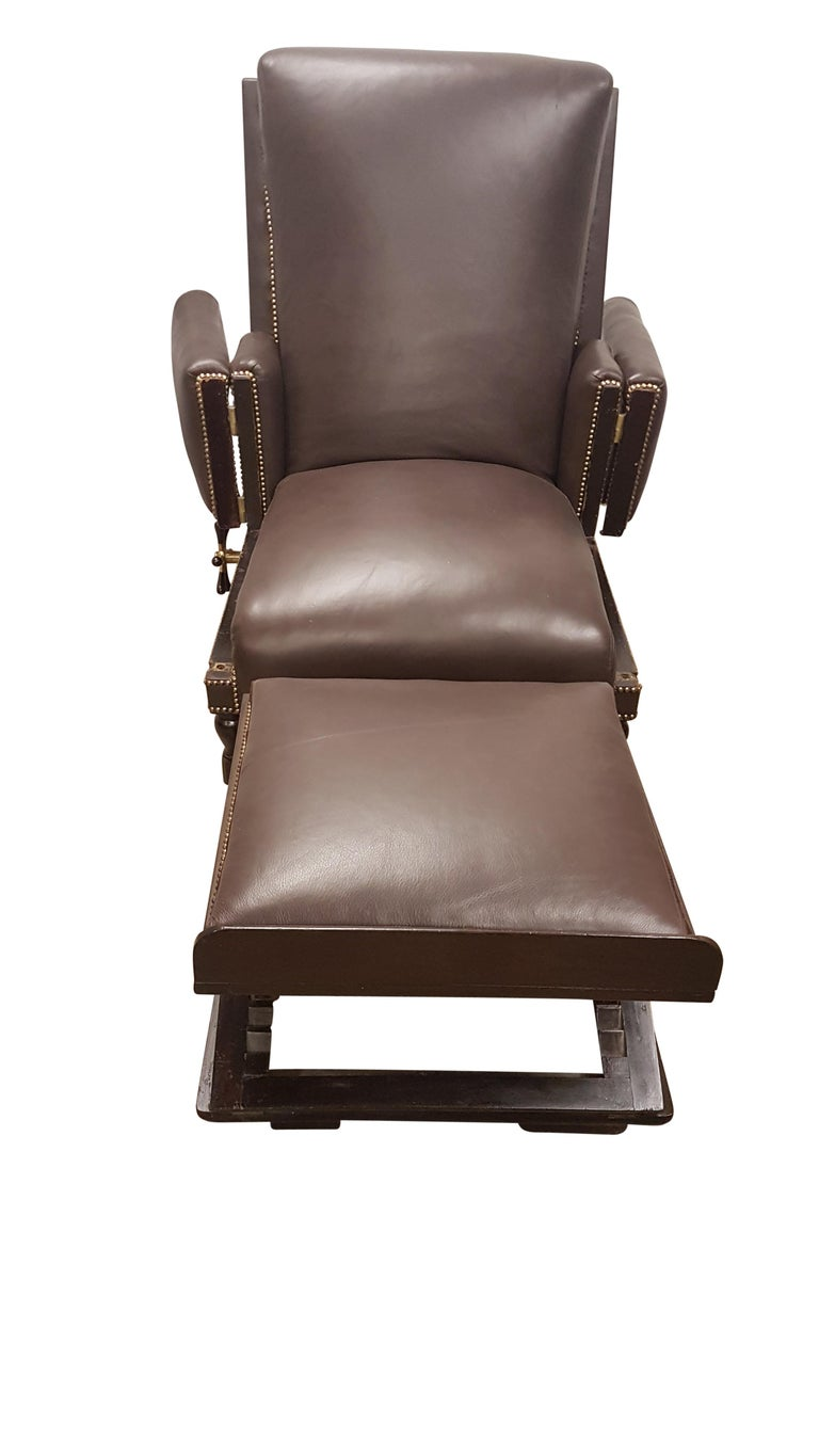 Mid-19th Century 19th Century Adjustable Armchair in Connolly Leather For Sale