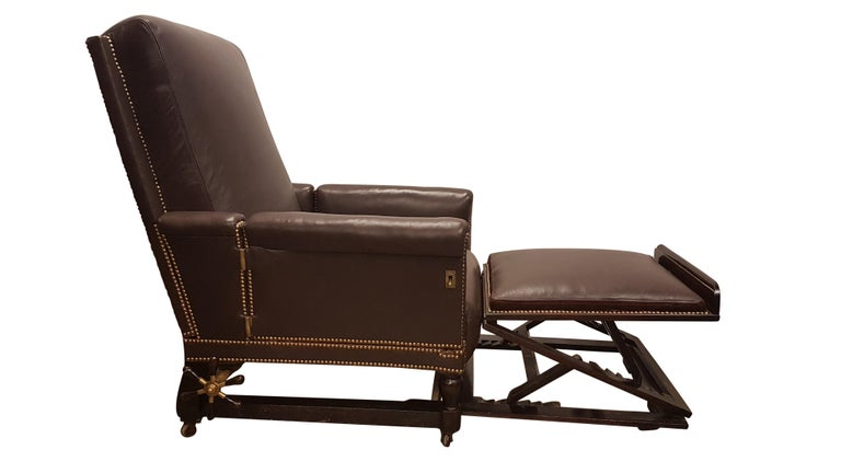 19th Century Adjustable Armchair in Connolly Leather For Sale 1