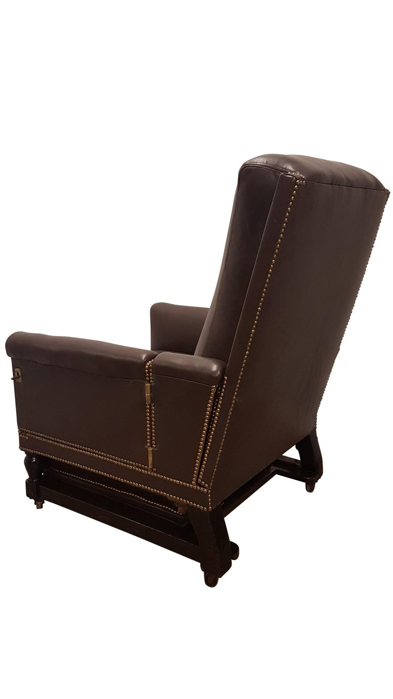 19th Century Adjustable Armchair in Connolly Leather For Sale 9