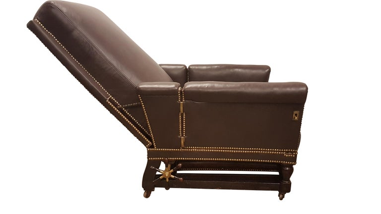 19th Century Adjustable Armchair in Connolly Leather For Sale 10