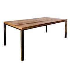 "Custom Industrial ""Workshop Table"" with Solid Wood Top and Steel Base, Medium"