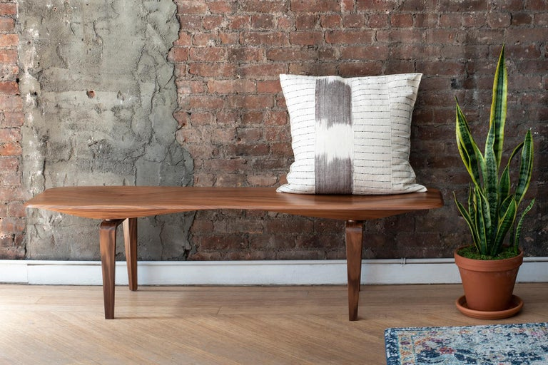 Mid-Century Modern Canaletto Walnut Bench with Carved Top by Miduny, Made in Italy For Sale