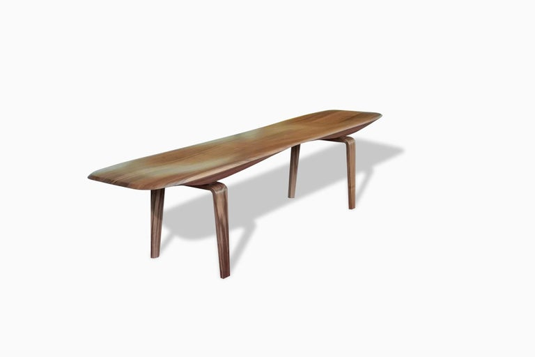 Canaletto Walnut Bench with Carved Top by Miduny, Made in Italy For Sale 1