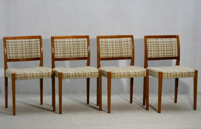 Mid-20th Century Set of Four Midcentury Swedish Teak Dining Chairs from Troeds, 1960s For Sale