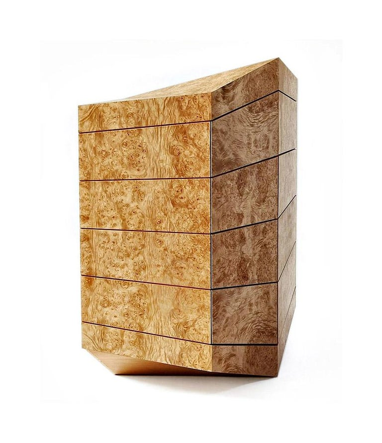 Modern Contemporary Latvian Burl Chest of Drawers