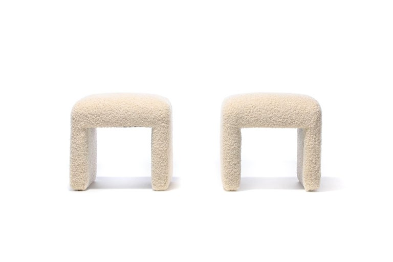 American Pair of Waterfall Benches in Ivory Bouclé by Directional, circa 1970s For Sale