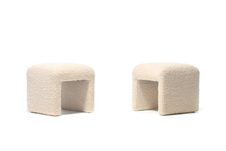 Pair of Waterfall Benches in Ivory Bouclé by Directional, circa 1970s In Good Condition For Sale In Saint Louis, MO