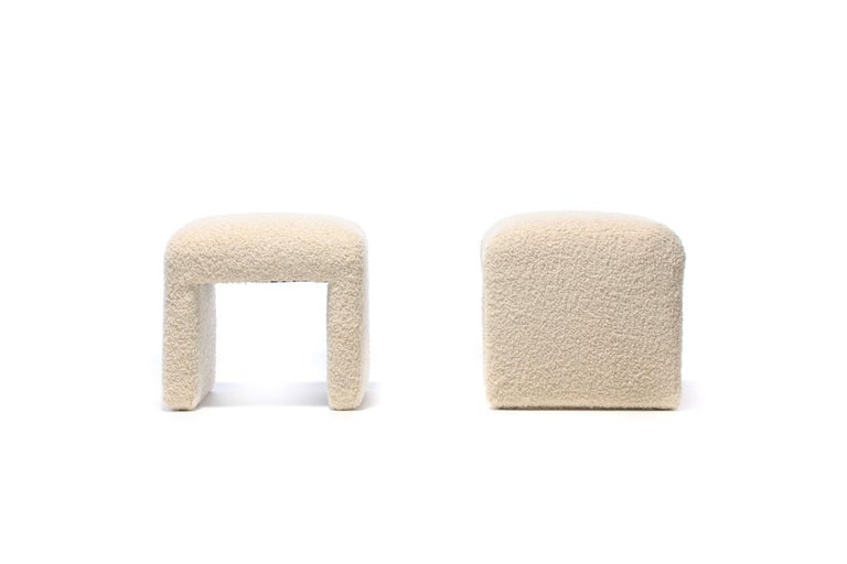 Late 20th Century Pair of Waterfall Benches in Ivory Bouclé by Directional, circa 1970s For Sale