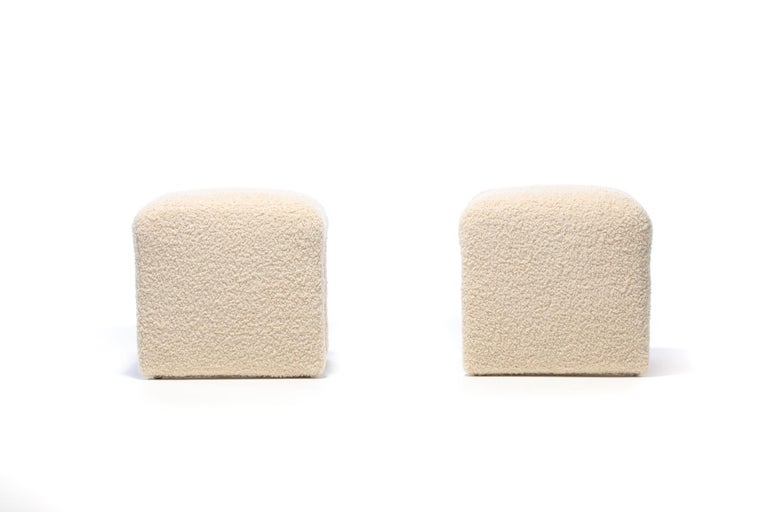 Pair of Waterfall Benches in Ivory Bouclé by Directional, circa 1970s For Sale 1