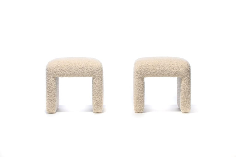 Pair of Waterfall Benches in Ivory Bouclé by Directional, circa 1970s For Sale 2