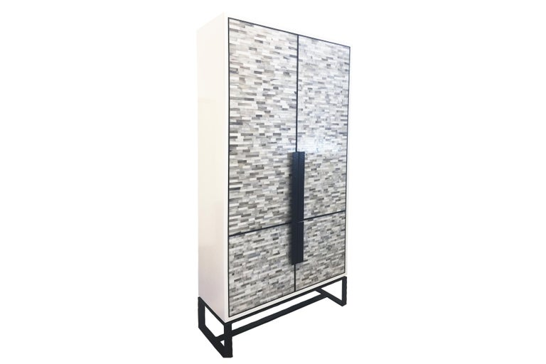 Modern Customizable Chelsea Glass Mosaic Bar Cabinet with Hammered Metal Base by Ercole For Sale