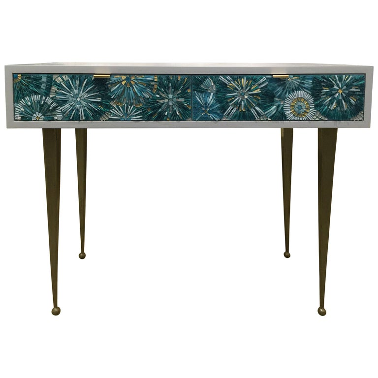 American Customizable White Blossom Glass Mosaic Desk with Metal Base by Ercole Home