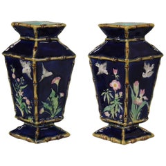 Pair of George Jones Majolica Diamond Shaped Vases