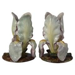 Pair of Massier Style French Majolica Iris Vases