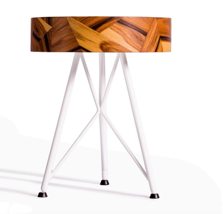 International Style Alma Geometric Contemporary Rosewood Stool or Auxiliary Table For Sale