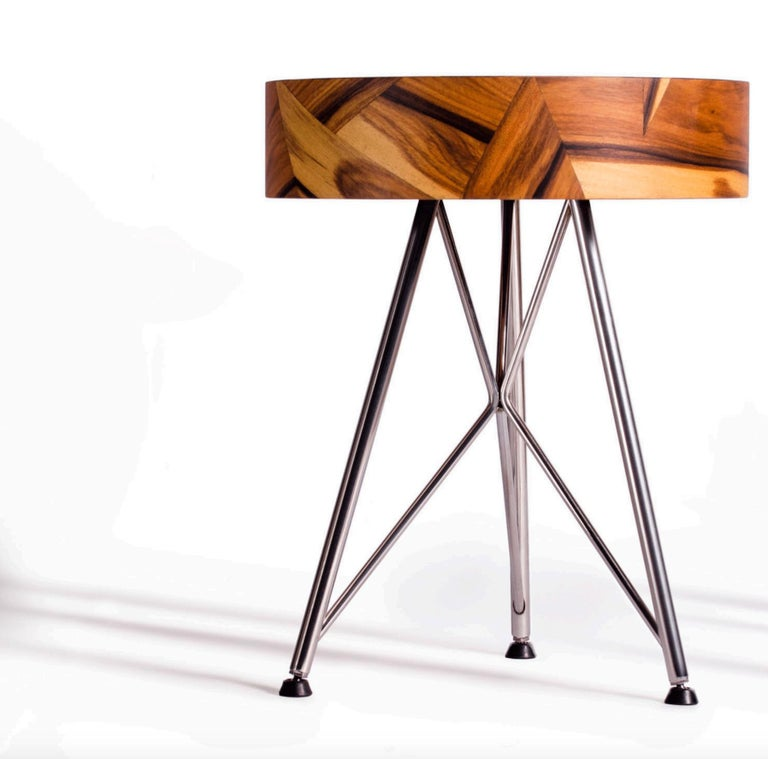 Alma Geometric Contemporary Rosewood Stool or Auxiliary Table For Sale 4