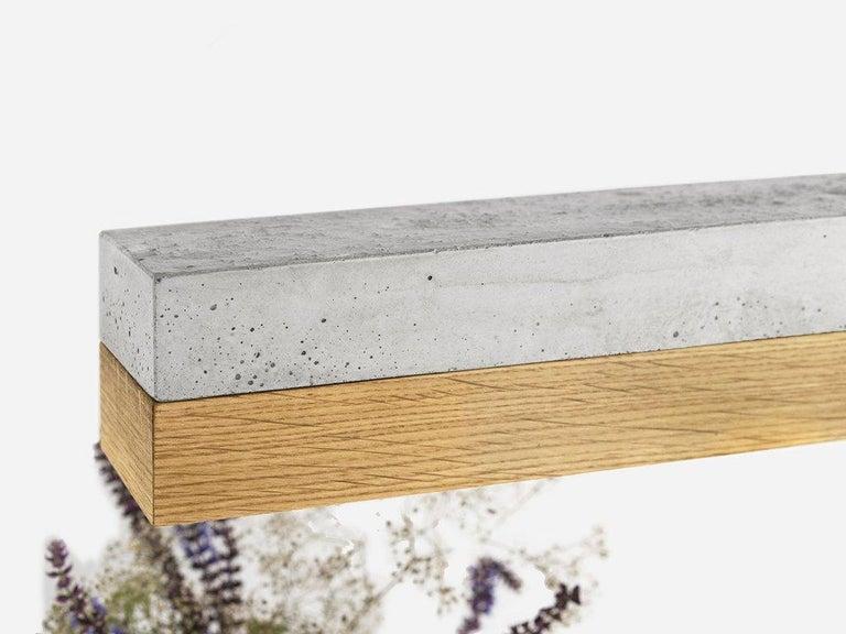 Modern Oak and Grey Concrete Pendant Light, Medium Contemporary Table Light For Sale 2