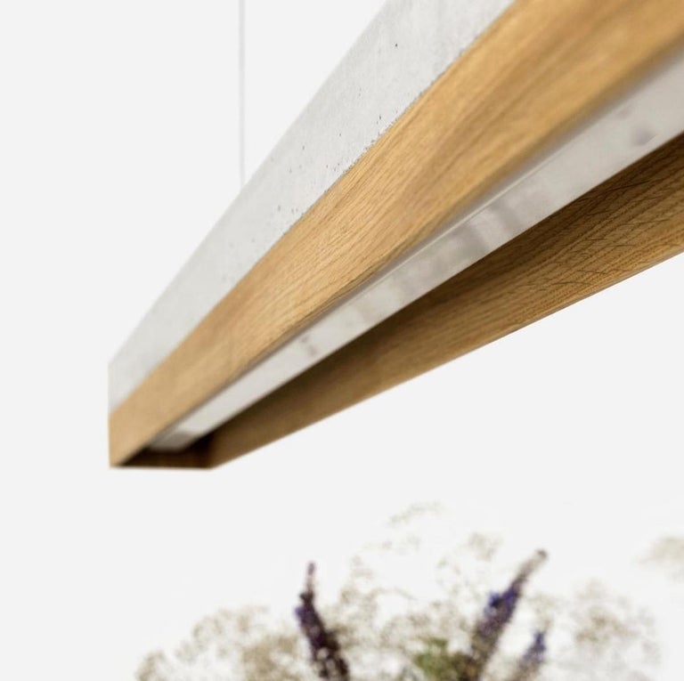 Modern Oak and Grey Concrete Pendant Light, Medium Contemporary Table Light For Sale 3