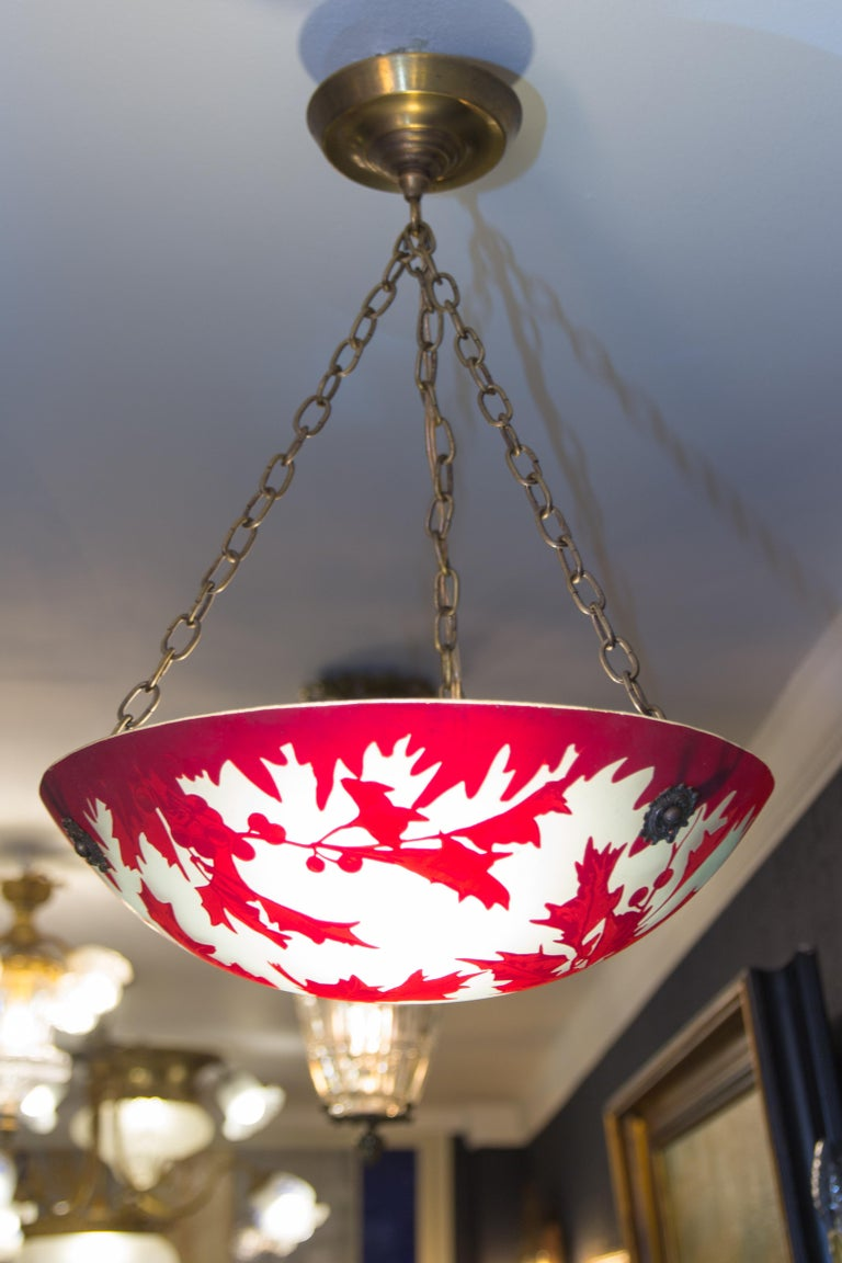 French Art Deco Pendant Chandelier Degue For Sale At 1stdibs Wiring Socket Height Style Marked With Signature And Red Mistletoe Leaves Berries