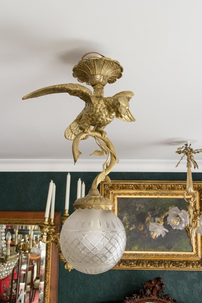 French Bronze Eagle Chandelier 1920s For Sale At 1stdibs Wiring Socket Height Beautiful Massive From Holding A Branch Fixture Frosted