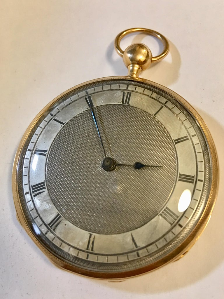 This stunning piece is a quarter repeater 14-karat gold, pocket watch. This piece is slim and lightweight - which fits conveniently for modern lifestyle. It has an open face and is key wound. The dial is in the style of Breguet and is silver with