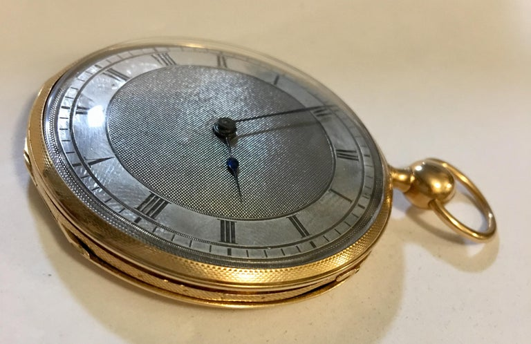 Lightweight Slim 14-Karat Gold Quarter Repeater Pocket Watch In Good Condition For Sale In London, Nottinghill